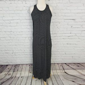 Lord & Taylor Maxi Dress Striped Black White S